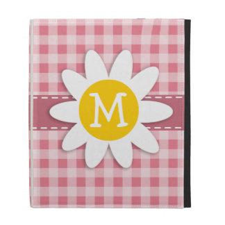 Blush Pink Gingham Daisy iPad Folio Covers
