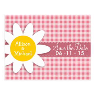 Blush Pink Gingham; Daisy Post Card