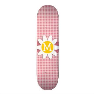 Blush Pink Gingham Daisy Skate Decks