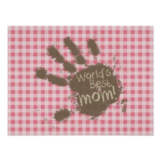 Blush Pink Gingham Funny Mom Poster