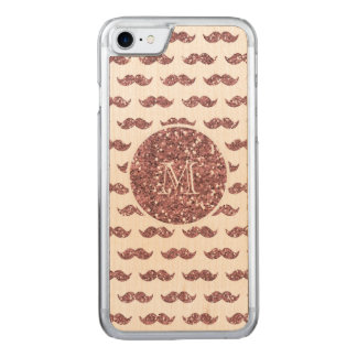 Blush Pink Glitter Mustache Pattern Your Monogram Carved iPhone 7 Case