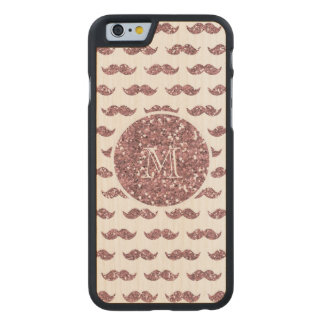 Blush Pink Glitter Mustache Pattern Your Monogram Carved® Maple iPhone 6 Case