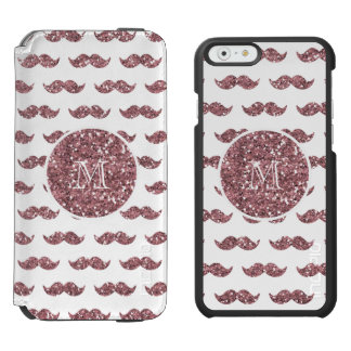 Blush Pink Glitter Mustache Pattern Your Monogram Incipio Watson™ iPhone 6 Wallet Case