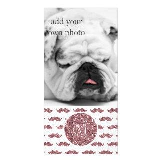 Blush Pink Glitter Mustache Pattern Your Monogram Custom Photo Card