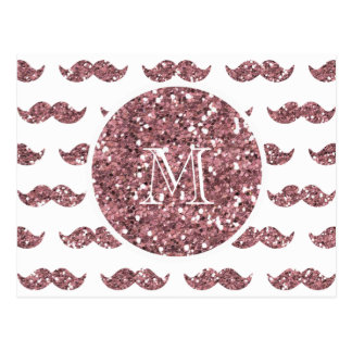 Blush Pink Glitter Mustache Pattern Your Monogram Postcard