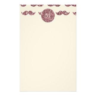 Blush Pink Glitter Mustache Pattern Your Monogram Custom Stationery