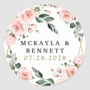 Blush Pink Gold and White Floral Greenery Wedding Classic Round Sticker