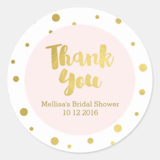 Blush Pink Gold Bridal Shower Thank You Favour