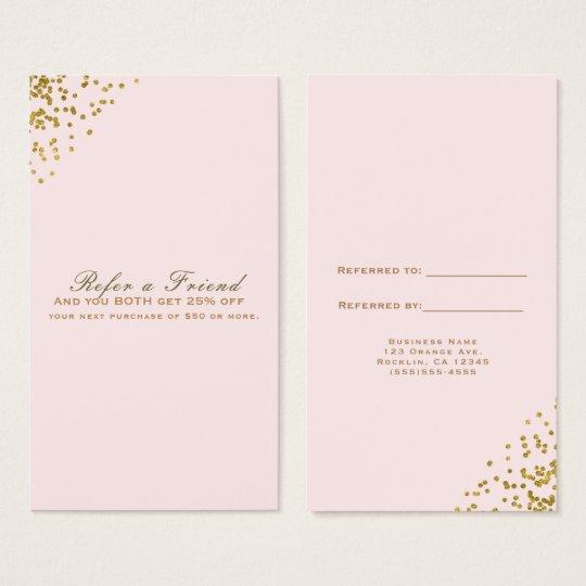 Blush Pink Gold Confetti Corners Refer a Friend