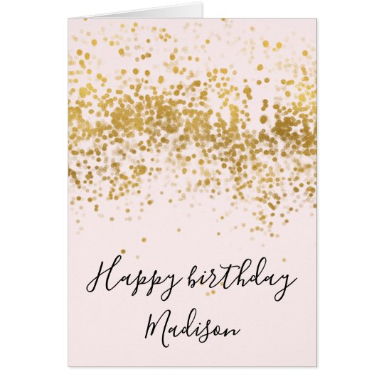 Blush Pink Gold Confetti Dots Birthday Card