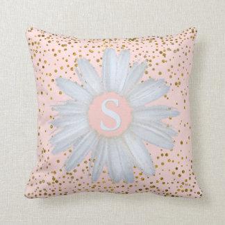 Blush Pink Gold Confetti Dots | Daisy Monogrammed Cushion