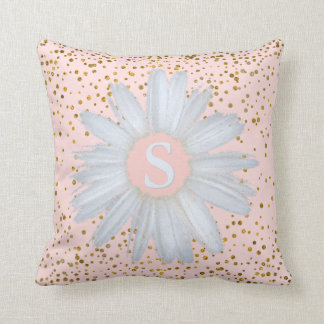 Blush Pink Gold Confetti Dots | Daisy Monogrammed Throw Pillow