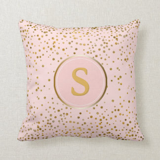 Blush Pink Gold Confetti Dots | Monogram Initial Throw Pillow