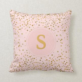 Blush Pink Gold Confetti Dots | Monogram Initials Cushion