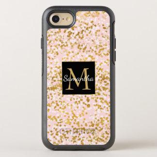 Blush Pink Gold Confetti Monogram OtterBox Symmetry iPhone 8/7 Case