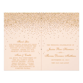 Blush Pink & Gold Confetti Wedding Bi-fold Program Flyer