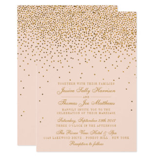 Blush Pink & Gold Confetti Wedding Card