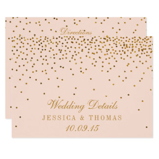Blush Pink & Gold Confetti Wedding Detail Insert Card