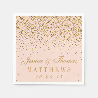 Blush Pink & Gold Confetti Wedding Disposable Napkins