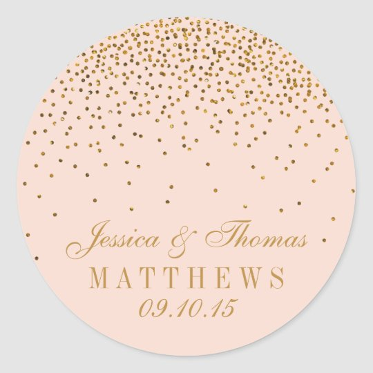 Blush Pink & Gold Confetti Wedding Favour Classic