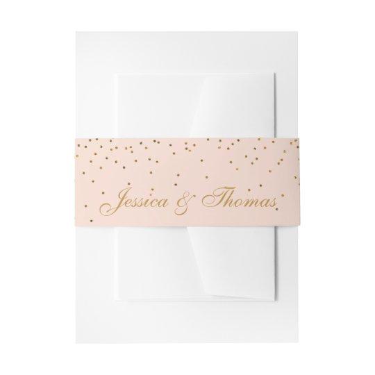 Blush Pink & Gold Confetti Wedding Invitation Belly
