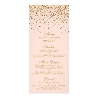 Blush Pink & Gold Confetti Wedding Menu