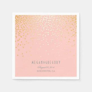 Blush Pink Gold Confetti Wedding Paper Napkin