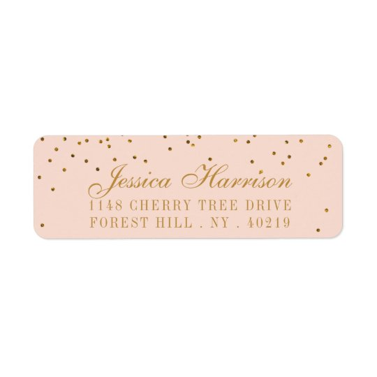 Blush Pink & Gold Confetti Wedding Return Address