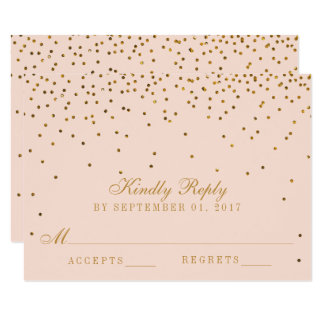 Blush Pink & Gold Confetti Wedding RSVP Card
