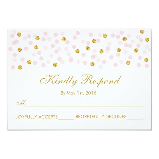 Blush Pink & Gold Confetti Wedding RSVP Cards