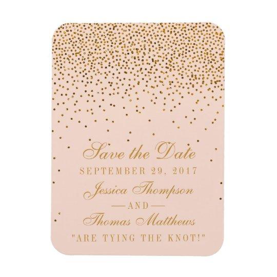 Blush Pink & Gold Confetti Wedding Save The
