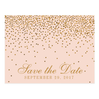 Blush Pink & Gold Confetti Wedding Save The Date Postcard