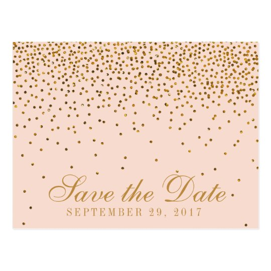 Blush Pink & Gold Confetti Wedding Save The