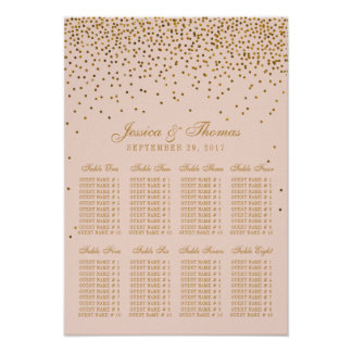 Blush Pink & Gold Confetti Wedding Seating Chart Poster