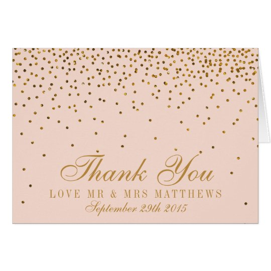 Blush Pink & Gold Confetti Wedding Thank You