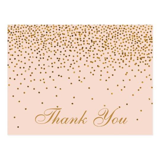 Blush Pink & Gold Confetti Wedding Thank You