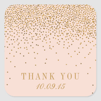 Blush Pink & Gold Confetti Wedding Thank You Square Sticker