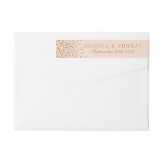 Blush Pink & Gold Confetti Wedding Wrap Around Label