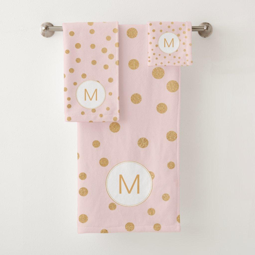 Blush Pink gold dot monogram bathroom Bath Towel Set