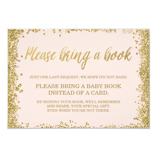 Blush Pink Gold Faux Glitter Baby Shower Book