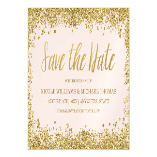 Blush Pink Gold Faux Glitter Save the Date Magnetic Invitations