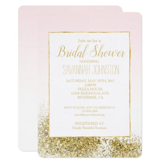 Blush Pink Gold Faux Glitter Sparkle Card