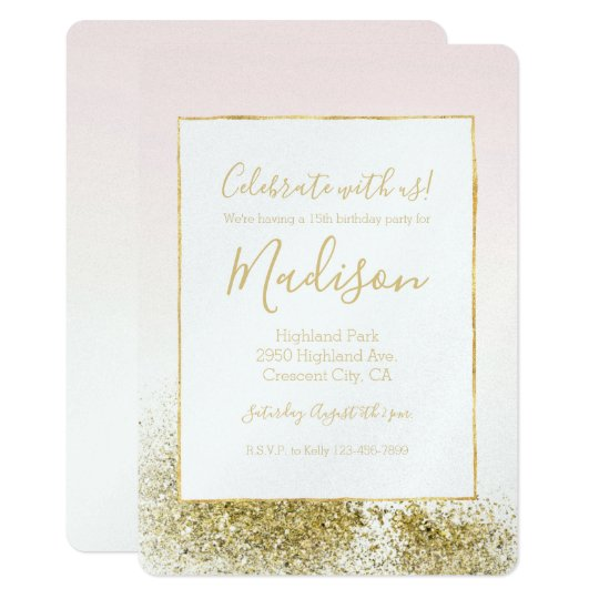 Blush Pink Gold Faux Glitter Sparkle Ombre Card