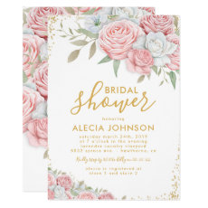 Blush Pink Gold Floral Sparkle Bridal Shower