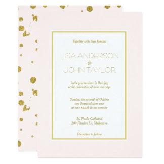 Blush Pink Gold Foil Confetti Modern Elegant Card