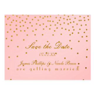 Blush Pink & Gold Foil Dots Save The Date Postcard