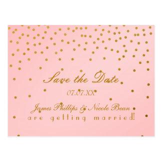 Blush Pink & Gold Foil Dots Save The Date Postcard