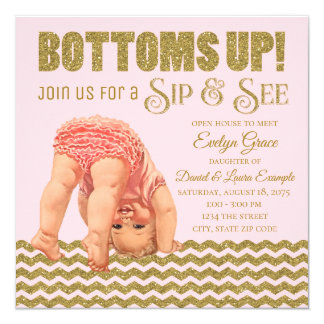 Blush Pink Gold Girls Sip and See Invitation