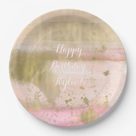 Blush Pink Gold Glam Watercolor Hello Beautiful Paper