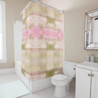 Blush Pink Gold Glam Watercolor Hello Beautiful Shower Curtain